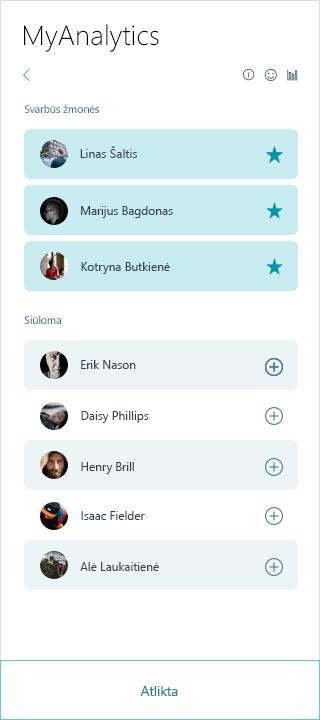 MyAnalytics svarbios žmonių sąrašą, ekrano nuotrauka