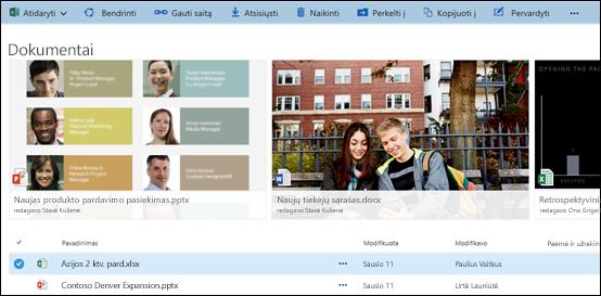 """""""Office 365"""" dokumentų ir aplankų meniu"""