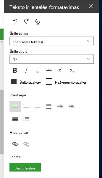 Atidarykite teksto ir lentelės formatavimo puslapis