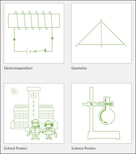 """Keturios """"Visio"""" švietimo įstaigoms skirto šablono miniatiūros, teikiamos """"Microsoft"""""""