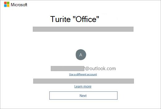 """Rodomas ekranas, rodomas įsigę naują įrenginį, kuriame yra licencijos Office. Šiame ekrane rodoma, kad Office esamą """"Microsoft"""" paskyrą."""