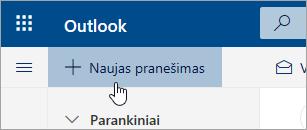 Ekrano kopija, kurioje matyti mygtukas Naujas pranešimas