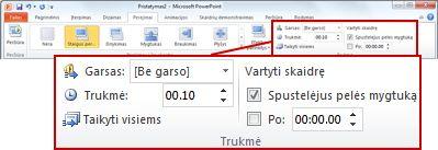 """""""PowerPoint 2010"""" juostelės skirtuko lapo Perėjimai grupė Laikas."""