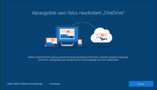 """Ekrano kopija, kurioje matomas """"Windows 10"""" sąrankos langas Apsaugokite savo failus naudodami """"OneDrive"""""""