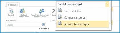 BCS duomenų katalogo rodinių pasirinkimo ekrano nuotrauka.