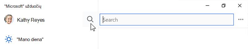 Atidaryti pasirinktą ieškos piktogramą ir ieškos lauke ekrano nuotrauka