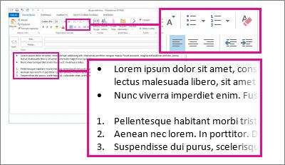 Sunumeruotų sąrašų ir sąrašų su ženkleliais pavyzdys laiške