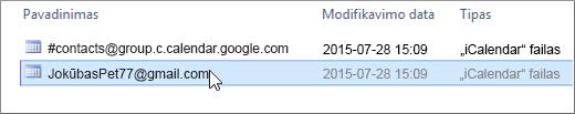 Norėdami importuoti pasirinkite failą, kuris baigiasi gmail.com.