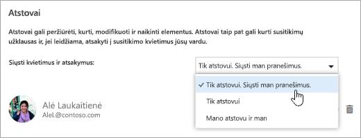 Dialogo lango Bendrinti šį kalendorių ekrano nuotrauka.