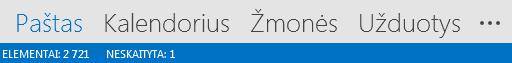 """Skirtukas Žmonės yra """"Outlook"""" ekrano apačioje."""