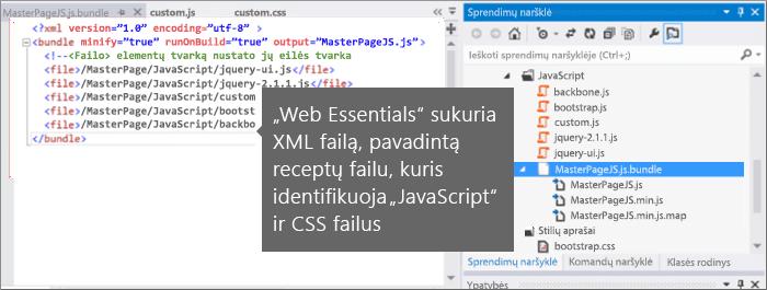 """""""JavaScript"""" ir CSS receptų failo ekrano kopija"""