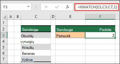 """""""XMATCH"""" naudojimo, norint rasti pakaitos simbolį, pavyzdys"""