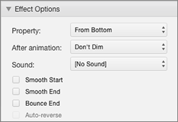 Modify the behavior of the animation with Effects Options in the Animations Pane