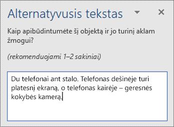Alternatyviojo teksto sritis, alternatyvaus teksto pavyzdys Word for Windows.