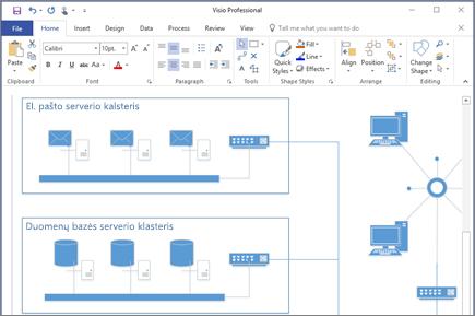 """Diagramos, sukurtos programoje """"Visio 2016"""", ekrano nuotrauka."""