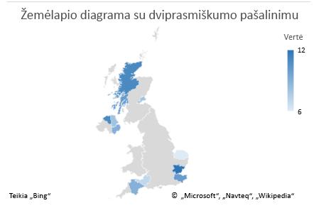 """""""Excel"""" žemėlapio diagramos nedviprasmiškų duomenų diagrama"""