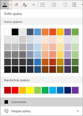 """Teksto spalvų meniu programoje """"OneNote"""", skirtoje """"Windows 10"""""""