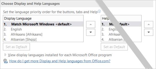 """""""Office 2016"""" nustatytas kalbos pasirinkimas"""