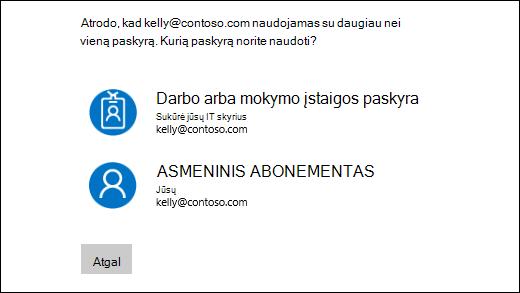 Prisijungimo ekranas su dviem elektroninio pašto adresus