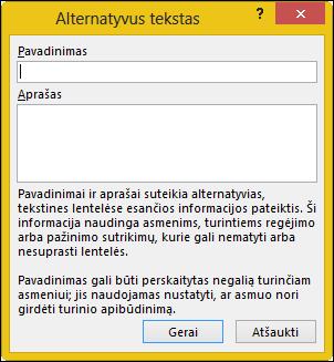 "Alternatyviojo teksto dialogo langas programoje ""Excel"""