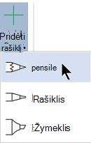 Galite piešti rašalu naudodami tris skirtingas tekstūras: pieštuką, rašiklį arba žymeklį