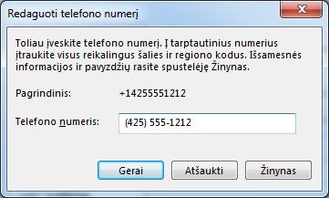 """""""Lync"""" telefono numerio pavyzdys, rodantis tarptautinį rinkimo formatą"""
