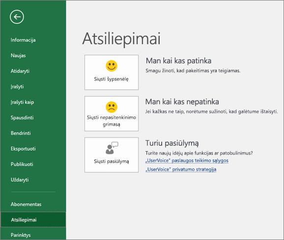 """Spustelėkite Failas > Atsiliepimai, jei norite """"Microsoft"""" pateikti komentarų arba pasiūlymų apie """"Excel"""""""