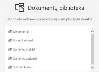 Pasirinkite dokumentų biblioteką, įdėti į puslapį