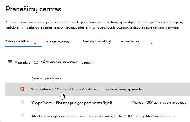 """Pranešimas """"Microsoft 365"""" administravimo centre apie """"Microsoft Forms"""" sukčiavimo apsimetant aptikimą"""