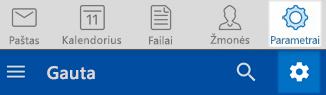 """Outlook"" ""iOS"" ir ""Android"" parametrai"