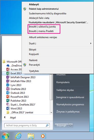 """Prisekite """"Office"""" programas """"Windows 7"""" pradžios ekrane arba užduočių juostoje"""