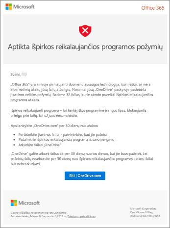 """Ekrano Ransomware aptikimo laišką iš """"Microsoft"""""""
