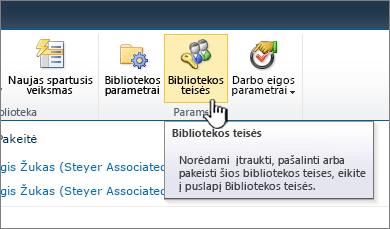 Juostelės mygtukas bibliotekos teisės