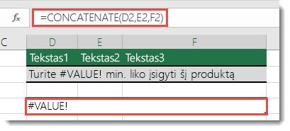 #VALUE! klaida funkcijoje CONCATENATE