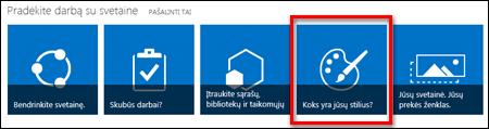 """Naujai sukurta """"SharePoint Online"""" svetainė, kurioje matomos tolesnio svetainės tinkinimo paspaudžiamos plytelės"""