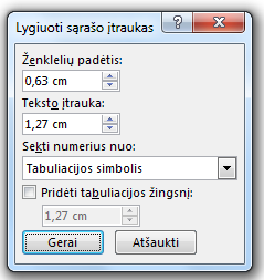 Dialogo langas Koreguoti sąrašo įtraukas