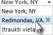 Pasirinkite miestą orų prognozės juostos vietos sąraše.