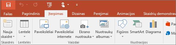 """Programos """"PowerPoint"""" juostelėje rodomas skirtukas Įterpimas"""