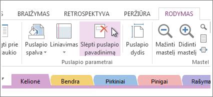 Puslapio pavadinimo rodymas arba slėpimas naudojant mygtuką Slėpti puslapio pavadinimą.
