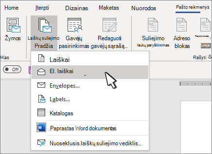 Laiškų suliejimo su pasirinktais elektroninio pašto pranešimais pradėjimas