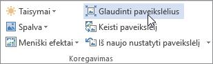 Mygtukas Glaudinti skirtuke Paveikslėlio įrankiai Formatas