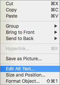 """Parinktis Alternatyvusis tekstas programos """"PowerPoint"""", skirtos """"Mac"""" kontekstiniame meniu"""