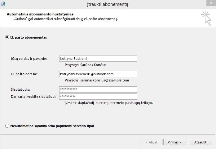 """Norėdami pridėti el. pašto paskyrą kaip naujai sukurto """"Outlook"""" profilio dalį, naudokite automatinę paskyros sąranką"""
