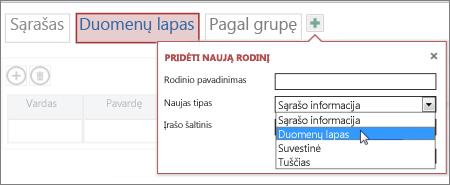 kito duomenų lapo įtraukimas į lentelę