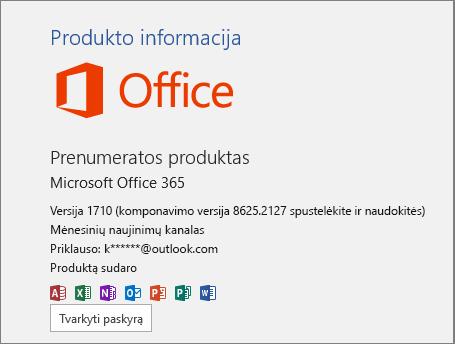 """Įprastas """"Office 365"""" Komponavimo versija"""