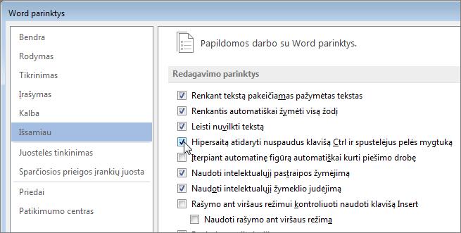 """Dialogo langas """"Word"""" parinktys"""