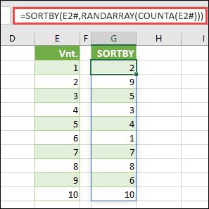 Naudokite SORTBY su RANDARRAY ir COUNTA. Šiuo atveju E2# nurodo visą diapazoną nuo langelio E2, kaip kad buvo užpildytas naudojant = SEQUENCE(10). Ženklas # vadinamas sulieto diapazono operatoriumi.