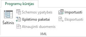 Skirtuko Programų kūrėjas XML komandos