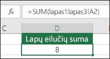 3D Sum – langelio D2 formulė yra =SUM(Sheet1:Sheet3! A2)