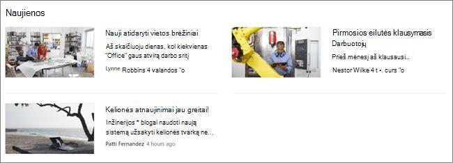 """""""SharePoint"""" svetainės naujienų puslapio dalies screencap, kur buvo filtruojami pranešimai"""
